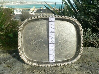 """Large Heavy Engraved Silver Plate on Brass Gallery Tray 18"""" x 14""""  45cm x 35cm"""