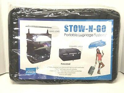 Stow-N-Go Portable Luggage System Packable Hanging Travel Shelves Large Black