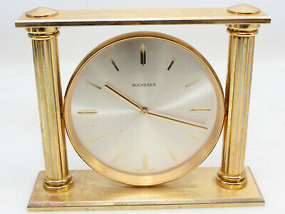 Vintage Bucherer IMHOF Clock 15 Jewels Swiss Made Brass Desk Table Pillar Gold