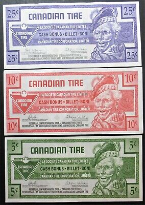 Canadian Tire 3 X Banknotes - 5 Cents 2014 - 10 Cents 2018 - 25 Cents 2011