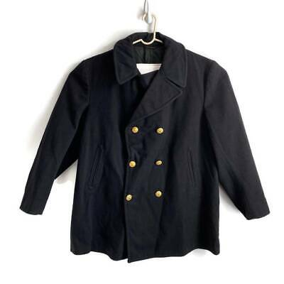 Mens Military Issue Peacoat Black Button Pocket Notch Lapel Long Sleeve Wool 48R