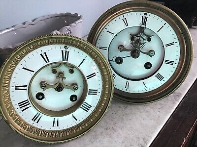 ANTIQUE FRENCH VISIBLE ESCAPEMENT CLOCK MOVEMENT FOR SPARES OR REPAIR X2 Look
