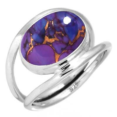 925 Sterling Silver Copper Purple Turquoise Handmade Ring Size O 1/2 CM62764