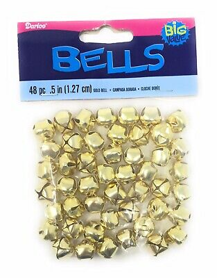3.15 Inch 80mm Giant Jumbo Gold Craft Jingle Bell with Stars 1 Piece