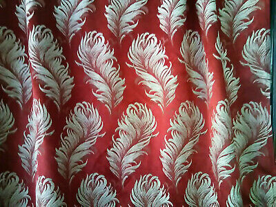 Vintage huge curtains drapery panels Victorian red white nubby plumes drapes!