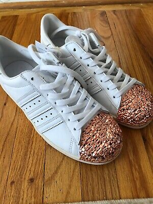 ADIDAS SUPERSTAR J WHITE ROSE GOLD ATHLETIC RUNNING SHOES 5.5Y = Size 7 WOMENS