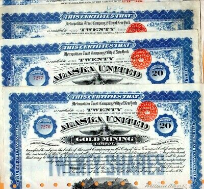 Alaska United Gold Mining Company 1895 Stock Certificates Set of Five #2
