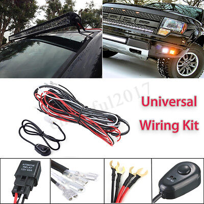 12V 40A LED Work Light Bar DRL Wiring Harness Kit ON/OFF Rocker Switch Relay 0