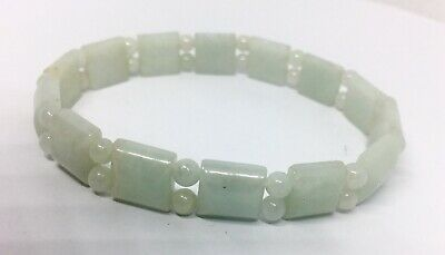 Carved Asian Green Jade Jadeite Stretch Bracelet 8 Inches Vintage Jewelry