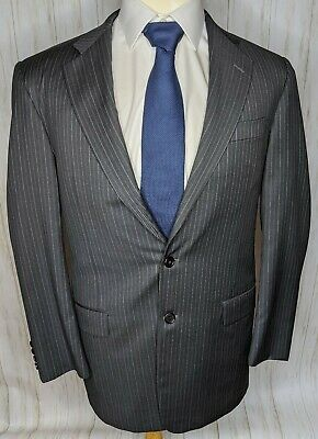 Hickey Freeman Charcoal Striped Wool 2-Button Suit Mens Sz 42R Pants 33x30
