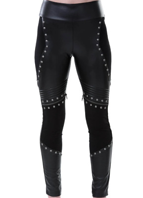 Killstar Asgard Leather Look Studded Leggings Large Goth Heavy Metal