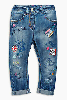ВNWT NEXT Chinos • Embroidered Mid Blue Badge Jeans • 100% Cotton • 9-12 Months