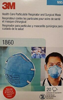 3M 1860 N95 Particulate Respirator and Surgical Mask 20 CT