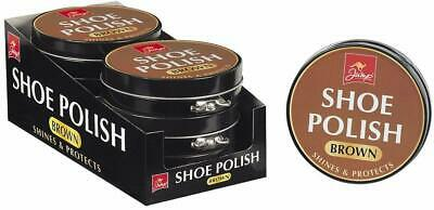 Brown Large 80gr Shoe Boots Polish Metal Tins Shine Protects Leather Protector