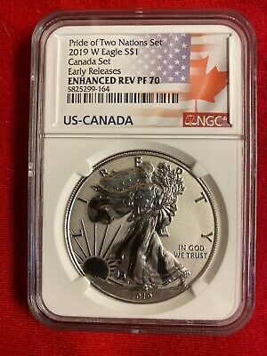 2019 W Silver Eagle Enhanced Reverse Proof NGC PF70 ER Pride Of Two Nations RCM