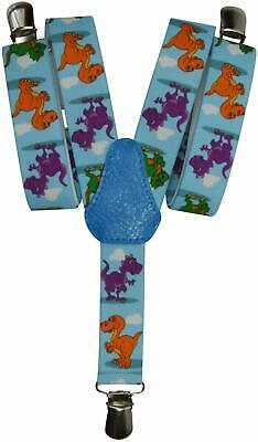 Childrens 1-5 Years Elasticated Clip on Braces/Suspenders with Dinosaur Design