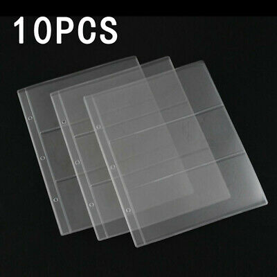 10x Clear Banknotes Album Page Paper Money Currency Collection Binder Sleeves