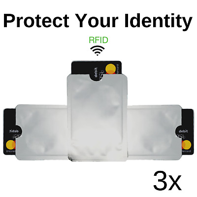 3x RFID Credit Debit ID Card Sleeve Protector Blocking Safety Shield Anti Theft