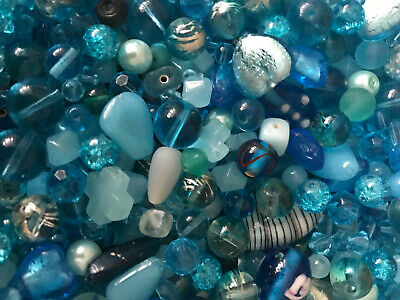 Beautiful Mix of Turquoise Glass Beads for Jewellery Making: 50g Selection