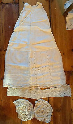 Lot Baby/Doll Antique Irish Crocheted Lace Bonnets Sleeves Slip