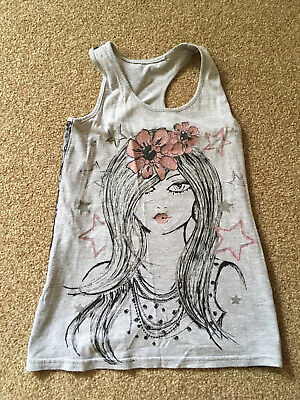 Girls, Matalan, Grey/black/pink, Vest Top With Lace Back Detail. Age 8-9yrs NEW
