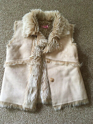 Girls, Matalan, Beige, Faux Suede And Fur, Buttoned, Gillet. Age 8-9yrs