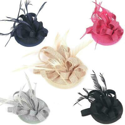 Ladies Elegant Feathers Small Mini Top Hat Wedding Clip Fascinator Royal Ascot