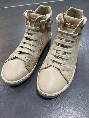 Young Girls Geox Hightop Trainers, Beige, Size 2.5 UK, Lace Ups