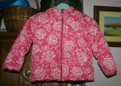 Joules Quilted Hooded Coat Age 5 Years Pink And White Flowers Pockets Girls Coat