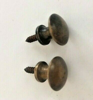 """2 Solid Brass Stacking Barrister Bookcase 5/8"""" Round Knobs or Drawer Pulls. Desk"""