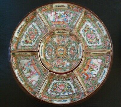 Antique Chinese Porcelain Rose Medallion Sweetmeat Set with Lacquer Box