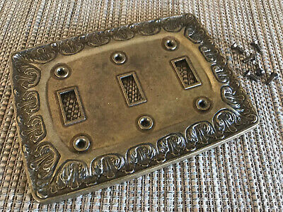 Vintage 1970's Brass 3 Toggle Ornate Switch Plate BF-143 with 6 Brass Screws