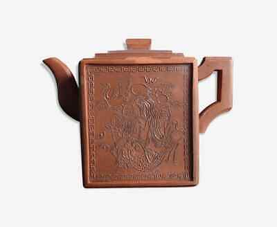 Théière Yixing terre cuite Chine Old chinese teapot square Shou lao animals mark