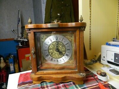 unusual mechanism vintage wooden cased Junghans W771 mantle clock, with brass fi