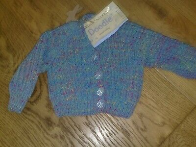 Baby hand knitted blue v neck cardigan new