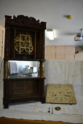 Antique American Birge And Ives 8Day Strap Brass Carved Clock.