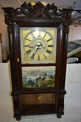 Antique American Forestville Manufacturing Co. Brass Movement Carved Top Clock
