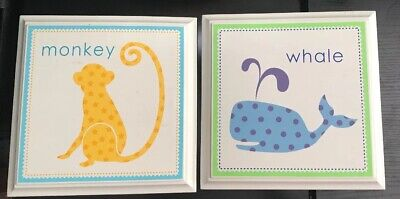 """Kids Room/ Nursery Pictures Monkey And Whale 9.5 X9.5"""""""