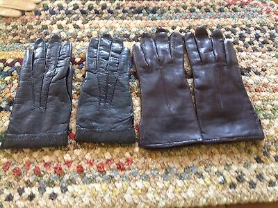 2 PAIR VINTAGE  Women's Black & Brown Leather Lined Gloves SIZE 6 & SIZE 7 PARIS