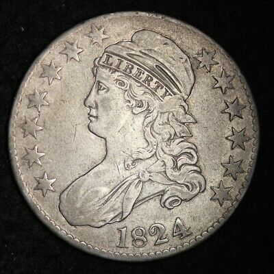 1824 Capped Bust Half Dollar CHOICE VF+ FREE SHIPPING E347 AMM