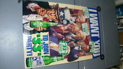 VINTAGE 1992 ROLLING ROCK JOIN 33 PARTY POSTER SIGN BEER BAR TAVERN BREWING ad