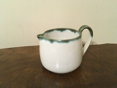 JB Cole pottery Seagrove NC Nell Cole Graves Pitcher Age 85 '94 White Green Drip
