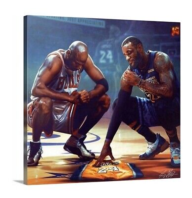 "Michael Jordan LeBron James Canvas Honoring Kobe Bryant 20""x20"" Legends Art"