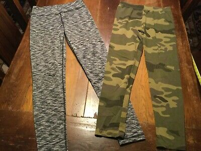 LOT OF TWO PAIR ACTIVE ATHLETIC LEGGINGS GIRLS SZ L 10/12 Camo & Space Dyed