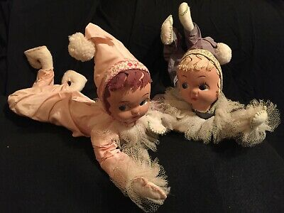 Two Vintage 1950's Poseable Bendable Jester Clown Pixie Bed Dolls Taffeta