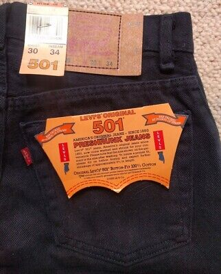 Levis 501 Jeans Mens Button Fly Black Preshrunk Jean Made in USA W 28 L 32 NEW