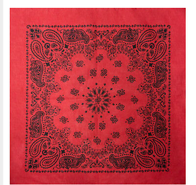 xl Red Extra Large 100/% Cotton Bandana Scarf Black White Paisley 27 in Headscarf