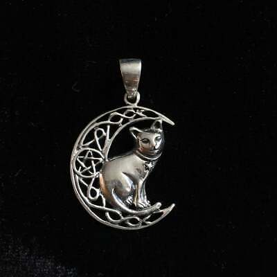 Lisa Parker Cat On Crescent Moon Pentagram Pendant. Sterling Silver 925.