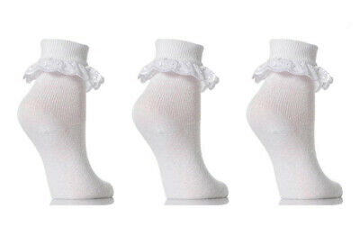 3 Pairs Girls White Lace Top Cotton Ankle Socks Soft Frilly Trim School Party
