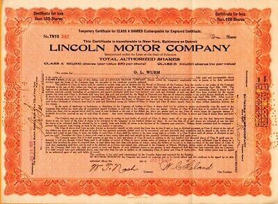 Lincoln Motor Company 1920 Oversize Stock Certificate - folded - #342